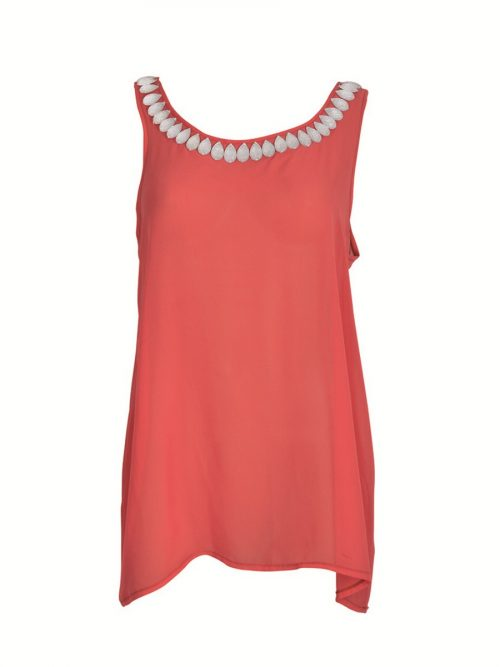 Coral Coloured Chiffon Top With Tear-Shaped Embellishments-0