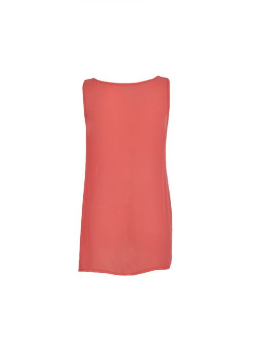 Coral Coloured Chiffon Top With Tear-Shaped Embellishments-1835