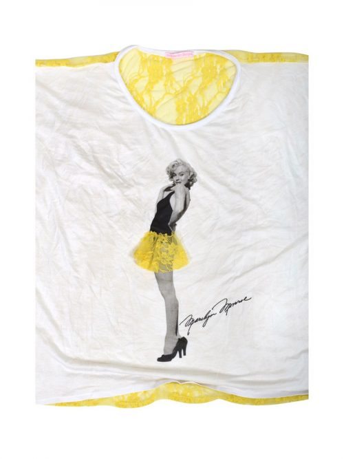 'Marilyn Monroe' T-Shirt With Yellow Lace Detailing-1724