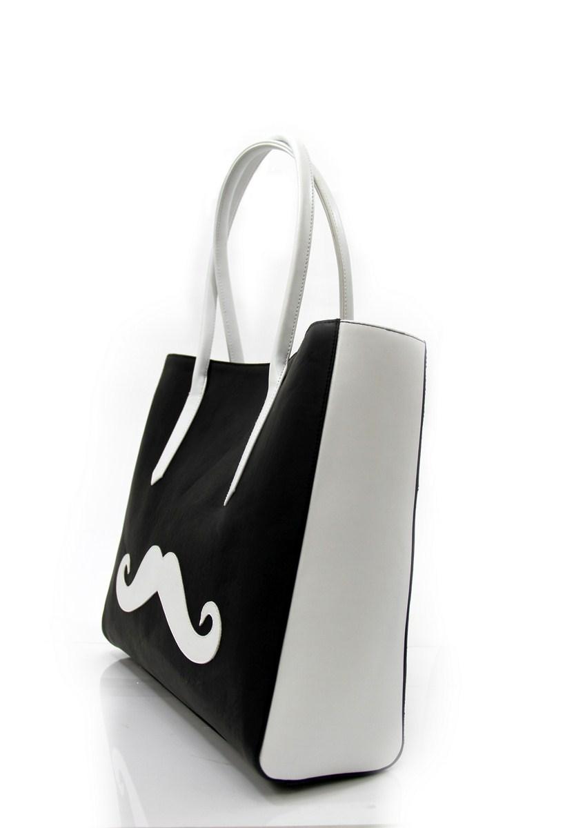 Black Moustache Print Bag -1852