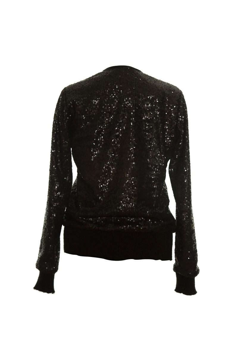 Black Sequin Zipper Jacket-1652