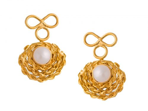 Gold Plated Earrings with Pearls-0