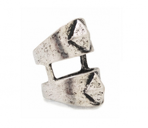 Silver Double Pyramid Cut-Out Ring-0