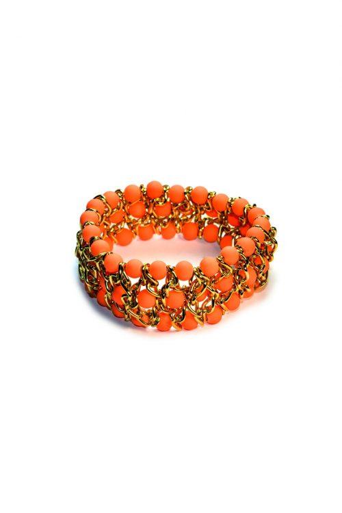 Orange Beaded Bangle-0