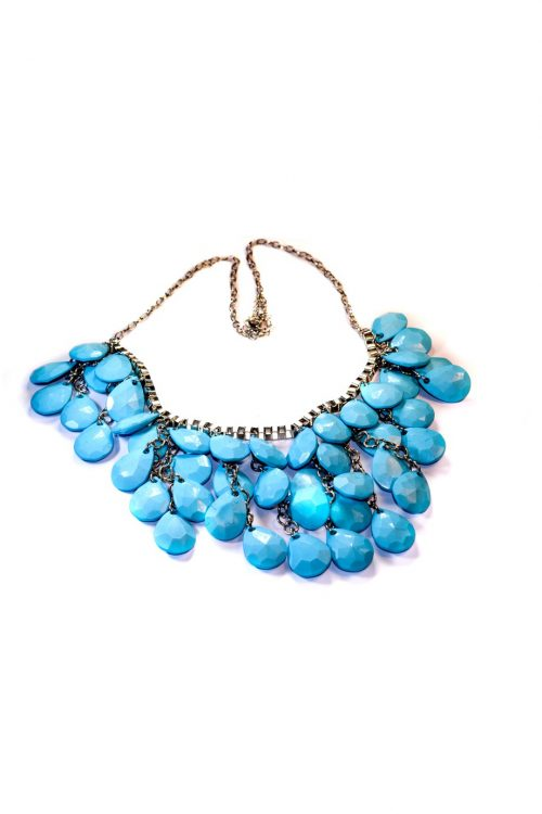 Layered Blue Stones Necklace-0